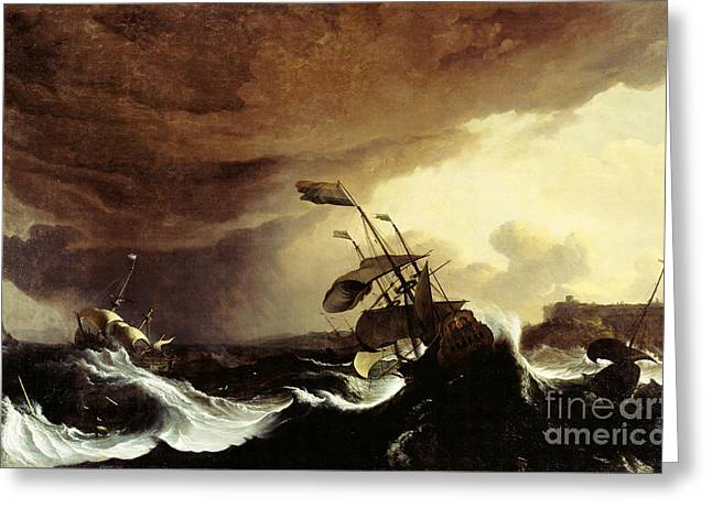Ships In A Stormy Sea Off A Coast Greeting Card by Celestial Images