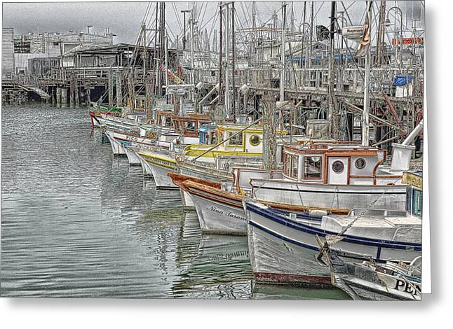 Ships In The Harbor Greeting Card