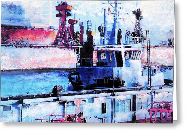 Ships In The Harbour Greeting Card