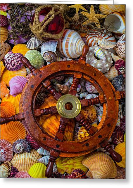 Ships Wheel Among Seashells Greeting Card by Garry Gay