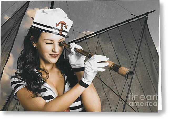 Shipshape Maritime Sailor Woman With Telescope Greeting Card