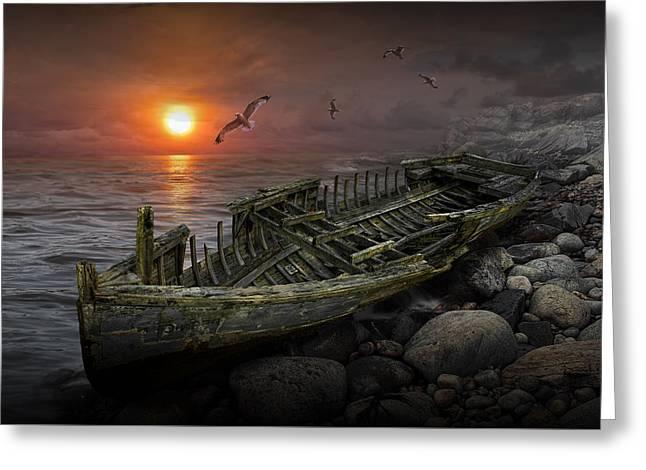 Shipwreck At Sunset Greeting Card by Randall Nyhof