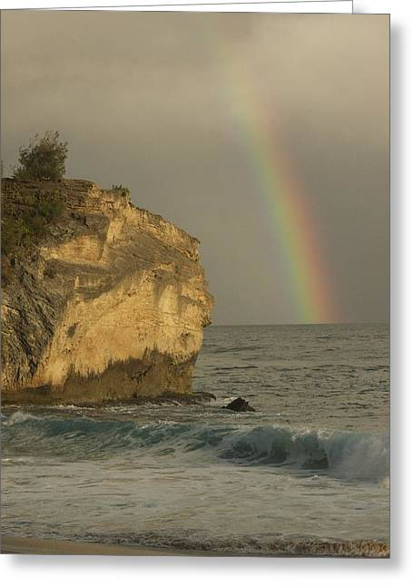 Shipwreck Beach Rainbow Greeting Card by Bonita Hensley