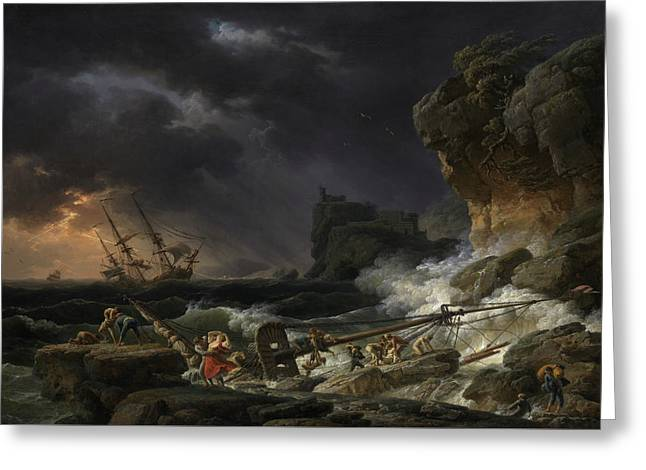 Shipwreck In A Thunderstorm Greeting Card