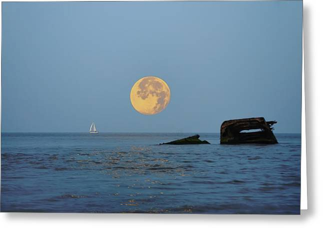 Shipwreck Moon - Cape May Greeting Card by Bill Cannon