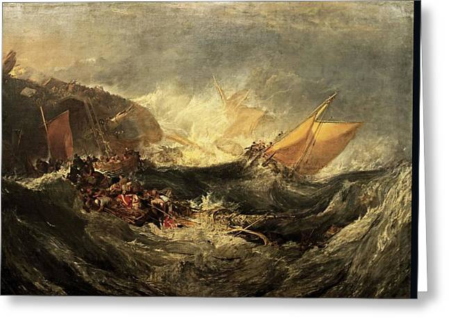 Greeting Card featuring the painting Shipwreck Of The Minotaur by J M William Turner