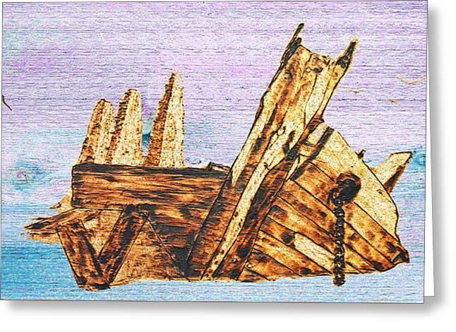 Shipwreck On Wood Greeting Card