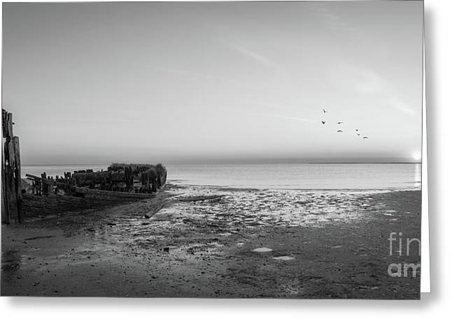 Shipwreck Sunset Panorama Bw Greeting Card by Michael Ver Sprill