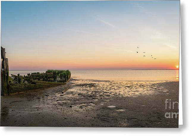 Shipwreck Sunset Panorama  Greeting Card by Michael Ver Sprill