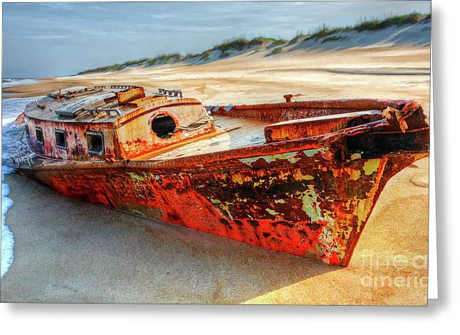 Shipwrecked Boat On Outer Banks Front Side View Greeting Card by Dan Carmichael