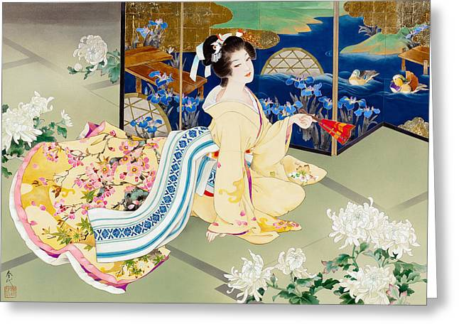 Shiragiku Greeting Card by Haruyo Morita