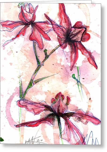 Greeting Card featuring the painting Shiraz Orchids I by Ashley Kujan