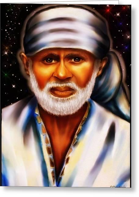 Shirdi Sai Baba Greeting Card by Carmen Cordova