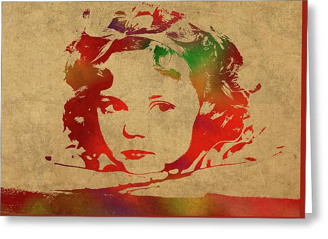 Shirley Temple Watercolor Portrait Greeting Card by Design Turnpike