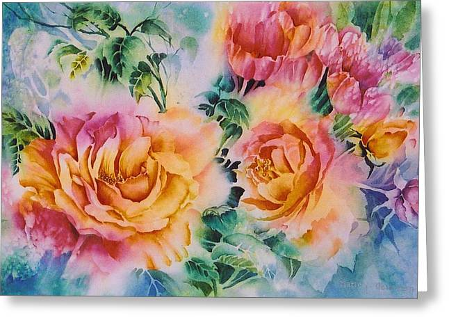 Shirleys-roses Greeting Card by Nancy Newman