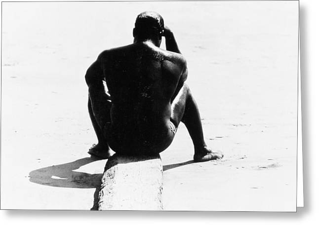 Shirtless Seated Man At Coney Island Greeting Card by Nat Herz