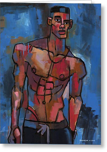 Shirtless With Blue Background Greeting Card by Douglas Simonson