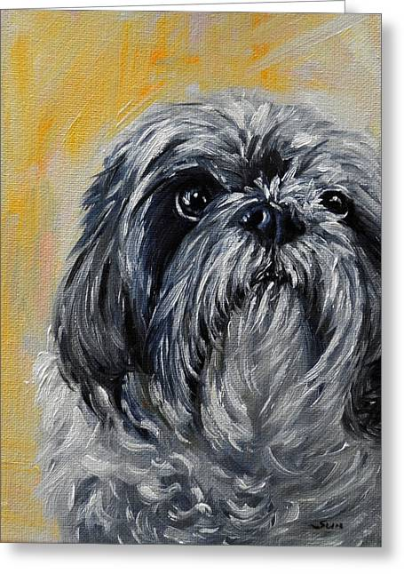 Shitzu, Shihtzu Art,original Painting,shih Tsu Greeting Card