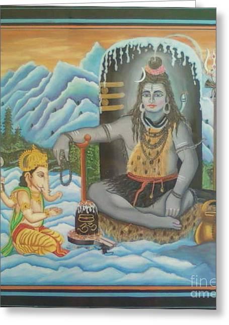 Shiv Ji Nd Ganesh Ji Greeting Card by Ravi Kumar