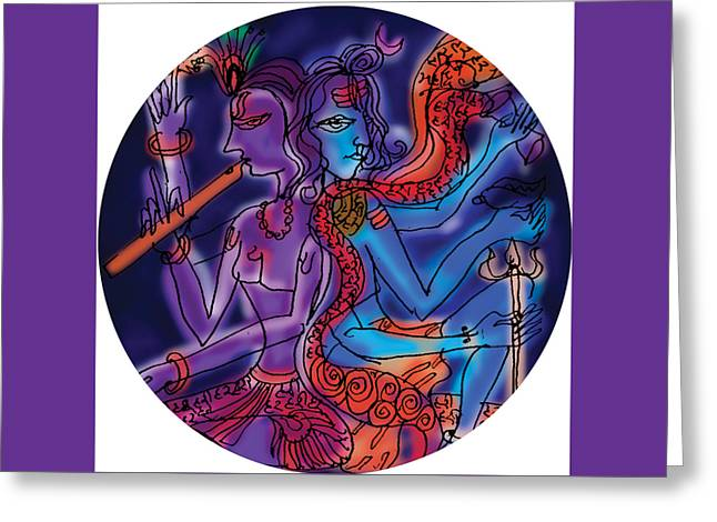 Shiva And Krishna Greeting Card