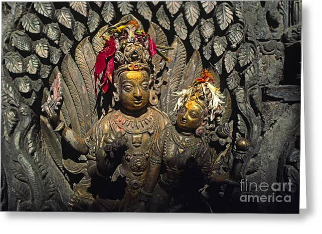 Shiva And Parvati - Pattan Royal Palace Nepal Greeting Card by Craig Lovell
