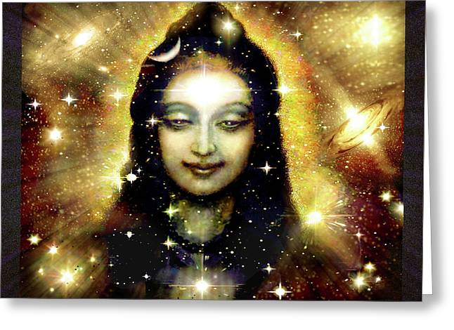 Shiva In Golden Space  Greeting Card by Ananda Vdovic