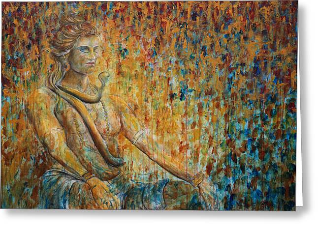 Greeting Card featuring the painting Shiva Meditation 2 by Nik Helbig