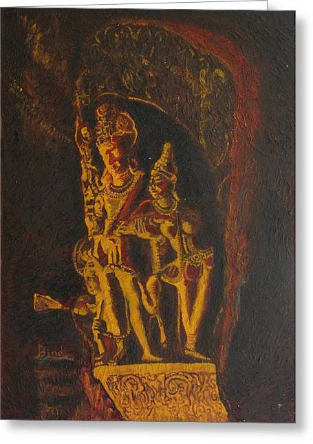 Shiva Parvati Greeting Card by Bindu Bajaj