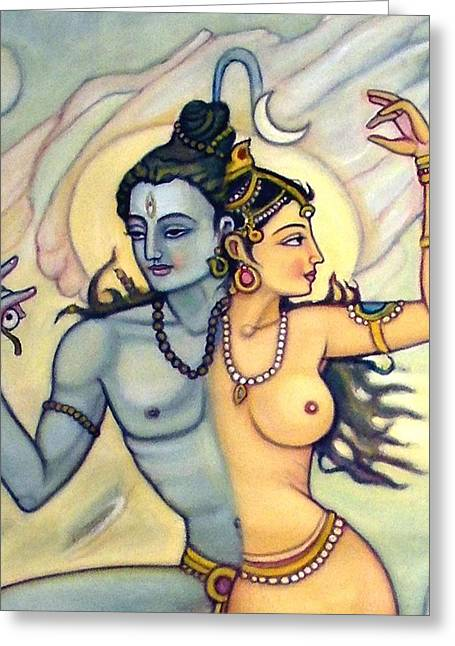 Shiva-shakti Or  Soul-nature Greeting Card by Upendra Ratra