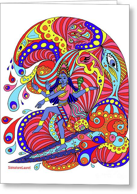 Shiva Surfing Greeting Card by Signature Laurel