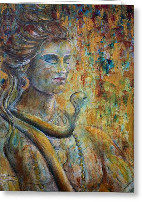 Greeting Card featuring the painting Shiva2-upclose-portrait by Nik Helbig