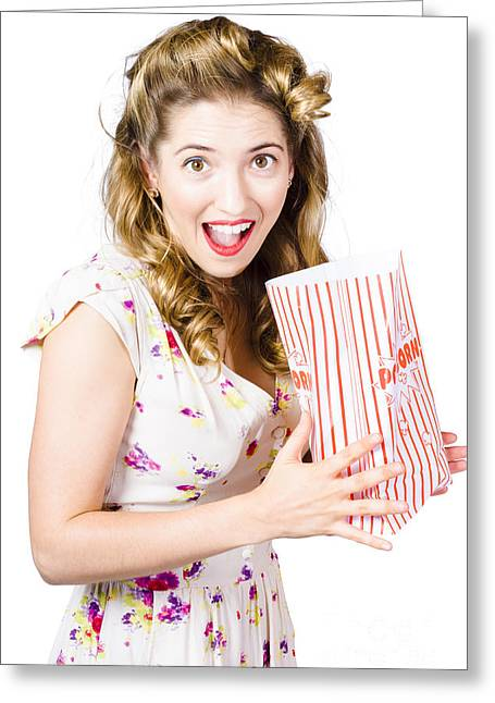 Shock Horror Pinup Girl Watching Scary Movie Greeting Card by Jorgo Photography - Wall Art Gallery