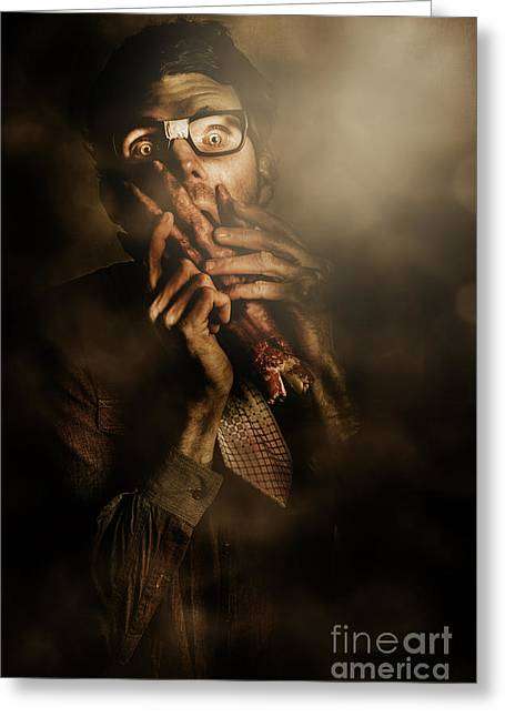 Shock Of Terror On Fright Night  Greeting Card by Jorgo Photography - Wall Art Gallery