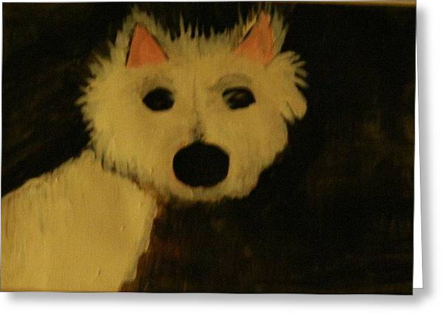 White Terrier Mixed Media Greeting Cards - Shock Greeting Card by Shellie Gustafson