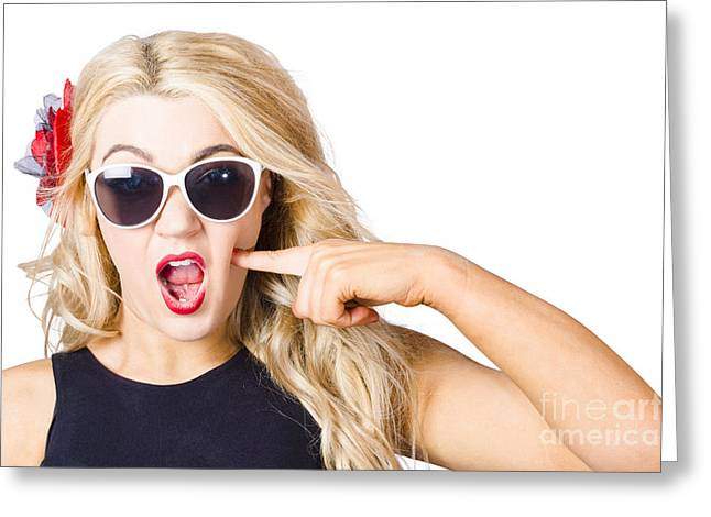 Shocked Blonde Makeup Woman. Cosmetic Application Greeting Card