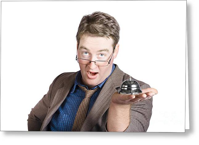 Shocked Businessman With Service Bell. Bad Service Greeting Card by Jorgo Photography - Wall Art Gallery