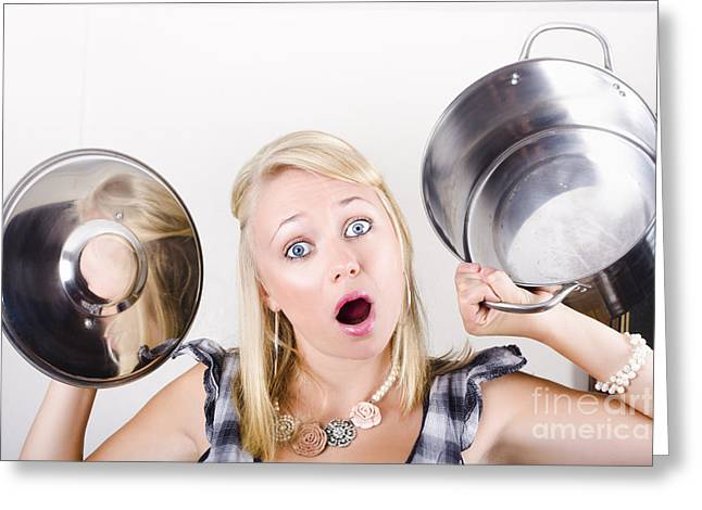 Shocked Caucasian Woman Holding Empty Cooking Pot Greeting Card by Jorgo Photography - Wall Art Gallery