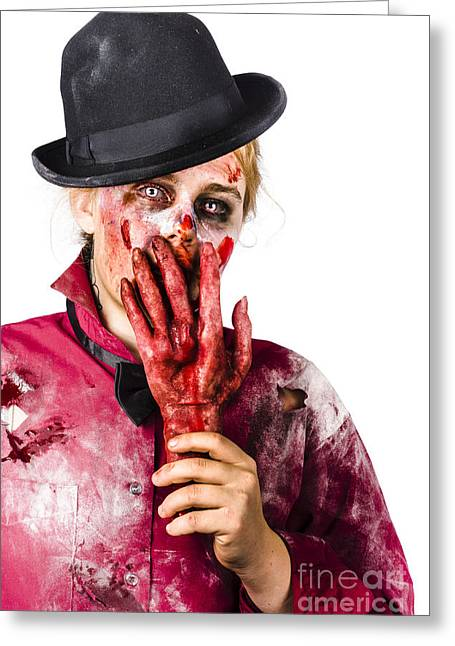 Shocked Zombie Holding Severed Hand. Dead Silence Greeting Card