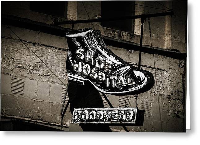 Shoe Hospital Greeting Card by Phillip Burrow