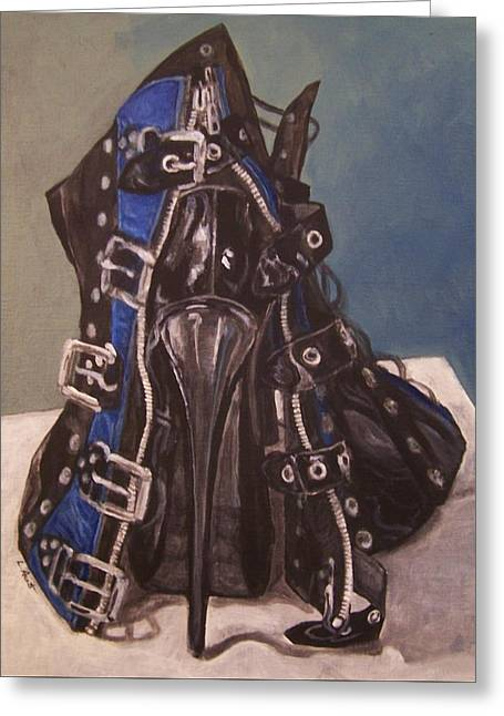 Shoe In Black And Blue Greeting Card