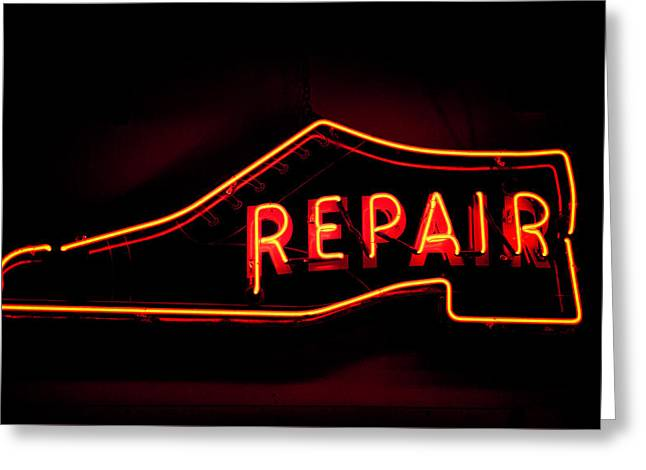 Shoe Repair Greeting Card by Phyllis Taylor