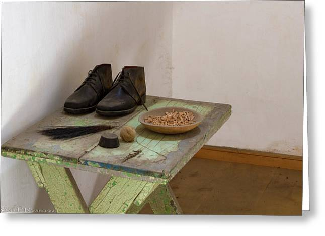 Shoe Repair Table At Eastern State Penitentiary  Greeting Card by Scott Kwiecinski
