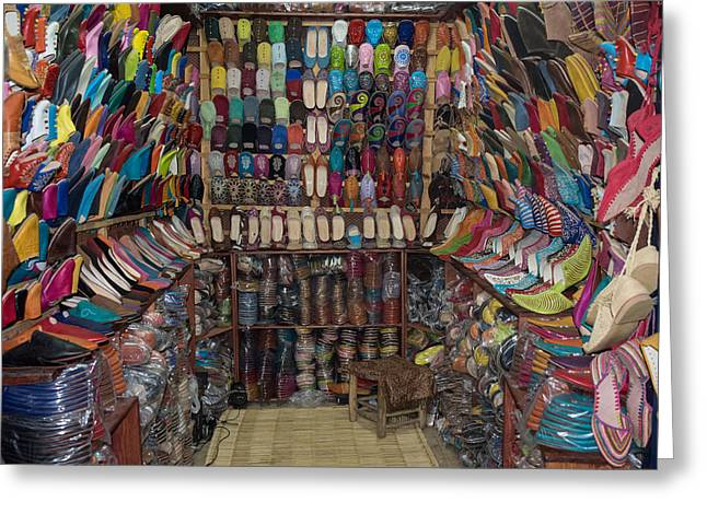 Shoe Store, Essaouira, Morocco Greeting Card by Panoramic Images