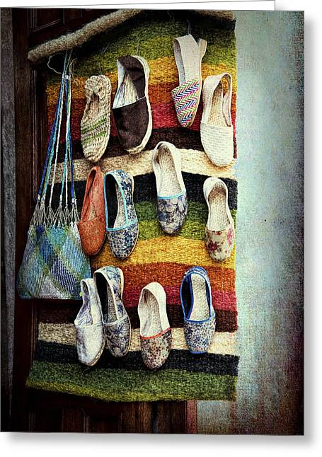 Shoe Store Greeting Card by Maria Coulson