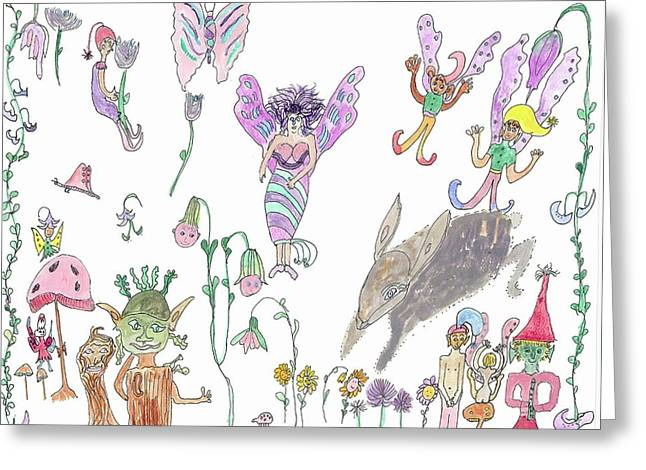 Shoe Tree Rabbit And Fairies Greeting Card