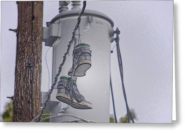 Greeting Card featuring the photograph Shoefiti 10145 by Brian Gryphon
