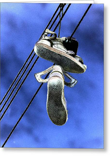 Greeting Card featuring the photograph Shoefiti 13115 by Brian Gryphon