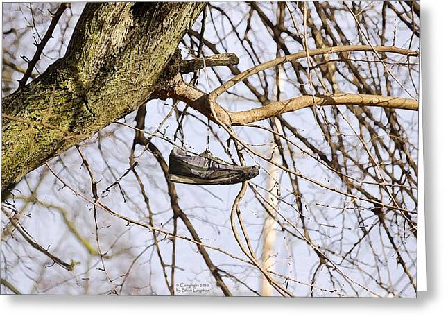 Greeting Card featuring the photograph Shoefiti 19061 by Brian Gryphon
