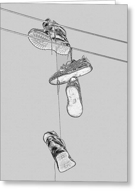 Greeting Card featuring the photograph Shoefiti 2103bw by Brian Gryphon