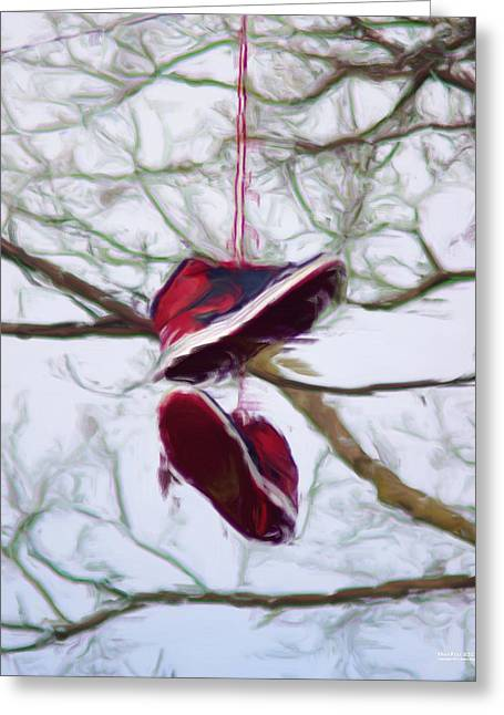 Greeting Card featuring the digital art Shoefiti 2327dp by Brian Gryphon